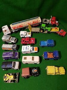 Vintage-Majorette-Cars-Die-Cast-Bundle-of-18-trucks-bus-jeep-lorry-vans