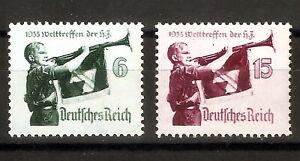 DR-Nazi-3rd-Reich-RARE-WW2-Stamp-Set-039-1935-Hitler-Jugend-Hitler-039-s-Flag-Bearer-War