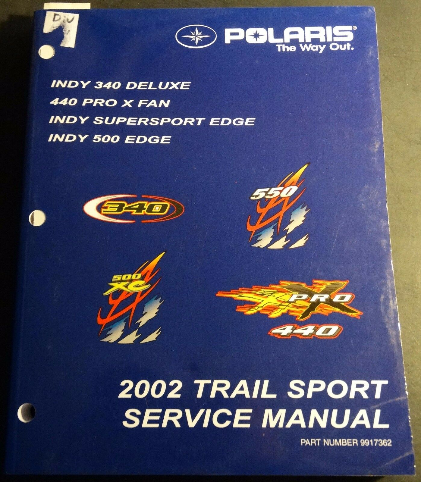 2002 POLARIS SNOWMOBILE TRAIL SPORT INDY SERVICE  MANUAL P N 9917362  (421)  factory outlet store