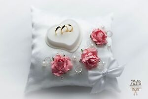 image is loading wedding ring pillow cushion engagement ring holder coral - Wedding Ring Holder