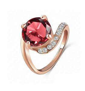 Anello-Unione-Placcato-Oro-Rosa-Set-di-una-Zirconio-Rosso-Multi-Taglie
