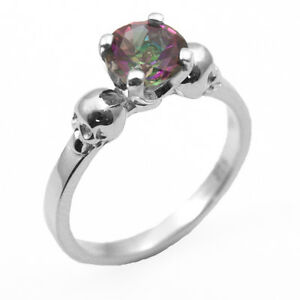Solido-argento-1CT-NATURAL-MYSTIC-Topaz-A-Mano-Teschio-Anello-di-fidanzamento