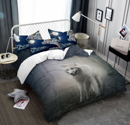 3D Moon White Wolf Bedding Set Duvet Cover Quilt Comforter Cover Pillow Case Set