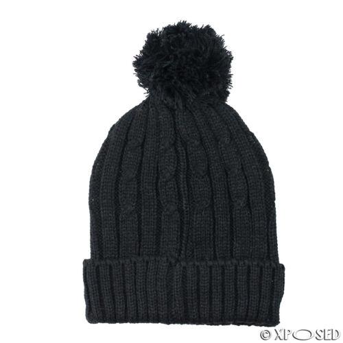 Unisex Uomo Donna Caldi Invernali A Maglia Beanie Finta Pelliccia Pompon cappello cap