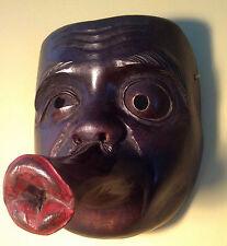 "Antique, Japanese, Fine Art, Hyottoko Clown, Carved, Wood Mask -Signed ""HOU-UN"""