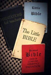Four-Vintage-Miniature-Doll-Size-Little-Bibles-amp-Meditations