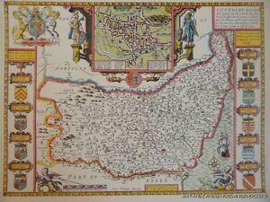 OLD COPY OF JOHN SPEED MAP OF SUFFOLKE SUFFOLK IPSWICH