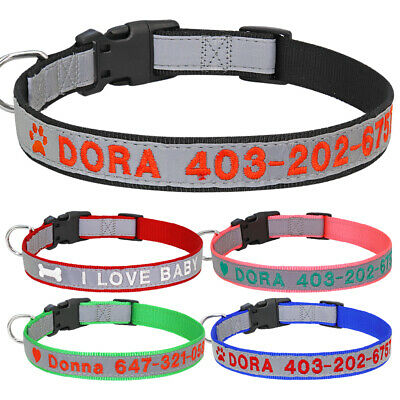 Embroidered Dog Collar Nylon Personalized ID Name Number Custom 5 Colors for Pet