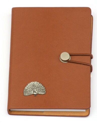 Peacock Pewter Design Notebook Leather Effect PU A6 Wildlife Great Bird Gift