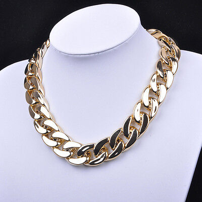 Fashion Chunky Statement Chain Pendant Necklace Bib Choker Women Jewelry Acrylic