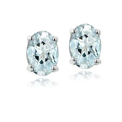925 Sterling Silver .9ct Genuine Aquamarine 6x4 Oval Stud Earrings