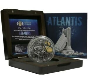 Niue-5-ATLANTIS-LEGENDARY-LANDS-Silver-Coin-2019-Gold-plated-High-Relief-2-oz