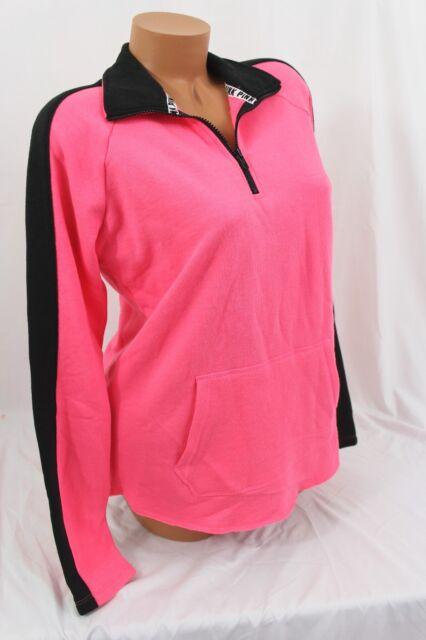 3ac487f86bd2c0 Victoria's Secret PINK sz L~Half-Zip Pullover~ raw-cut-hem, Pink ...