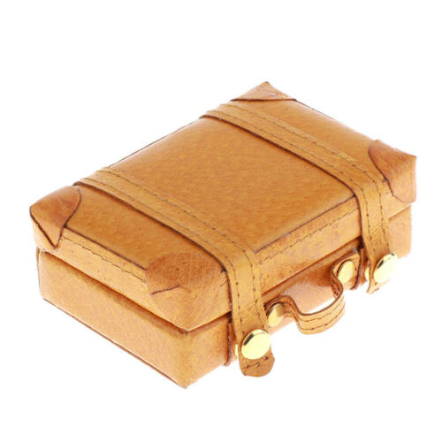 1:6 Dolls House Miniature PU Suitcase Luggage Yellow Bedroom Accessories