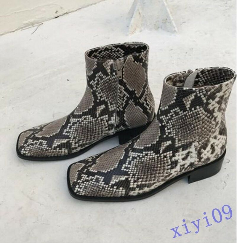 Womens Flats shoes Square toe Side zip Snakeskin Fashion Fashion Fashion Casual Ankle boots 2018 f52293