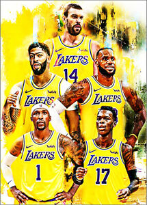 2021-Lebron-James-Lakers-Davis-Gasol-Pope-Schroder-3-25-Art-ACEO-Print-Card-By-Q