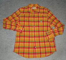 Ralph Lauren Denim Supply Orange Green Plaid Western Snap Button Shirt Mens XL