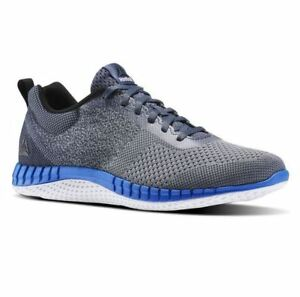 f095efaf6ae195 Details about Men s Reebok Print Run Prime Ultraknit Running Shoe  Grey White-Black-Blue BS6976