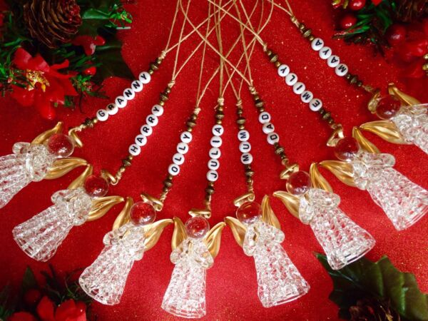 *** Personalizzata Albero Di Natale Decorazione Bomboniera Memoria Regalo Vetro Angel ***-d Christmas Tree Decoration Glass Angel Keepsake Memory Gift***