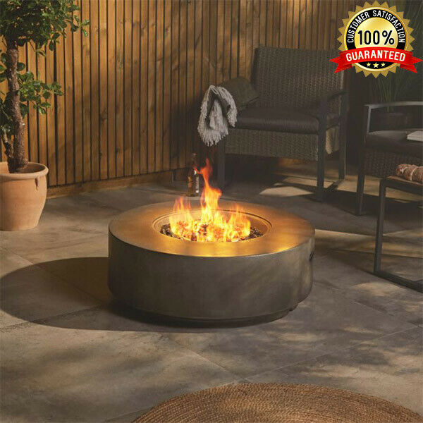 Round Gas Fire Pit Garden Patio Heater Smokeless Burner with Cover Gas Hose