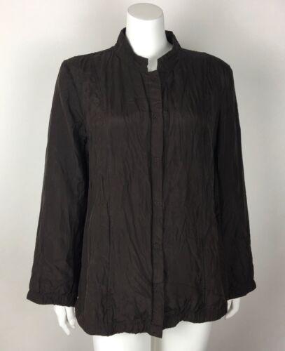 seta pieghe scuro da in Eileen Giacca grande Fisher cotone con tasche e donna marrone 4PqnHzx1