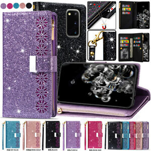 For-Samsung-S20-S10-5G-Note-10-Plus-A91-A81-A71-Glitter-Leather-Case-Stand-Cover