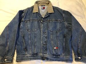 Vintage 90s Tommy Hilfiger Jean Jacket w Logo Patches Mens L ... 5fb7e4f903