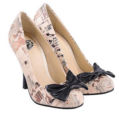 T.U.K. Stiletto High Heel Shoes Retro Lingerie Print Bombshell Vintage Bow