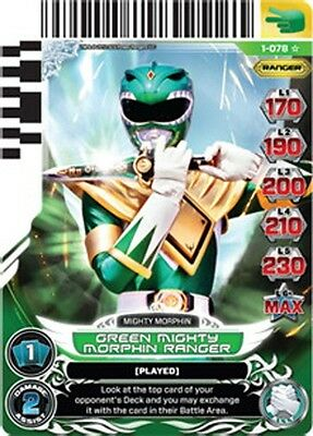 POWER RANGERS CARD RISE OF HEROES : SUPER RARE Green Mighty Morphin Ranger 078