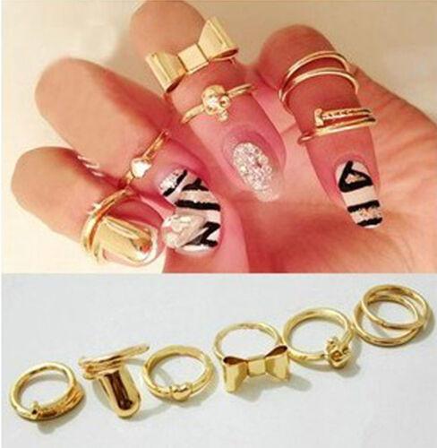 Set 7 Stk Ringe Glieder Nagel Ring Totenkopf schleife Herz Fingerspitzenring