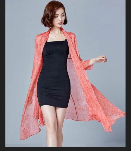Women Lady Chiffon Sheer Cardigan Jacket Coat Loose Long Sun Proof Clothing Tops
