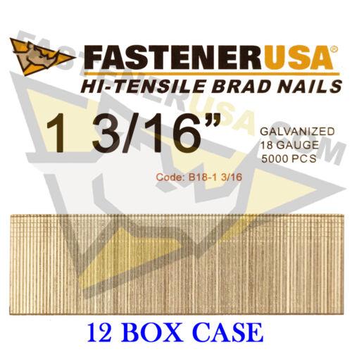 "5,000 ct 1 3//16/"" 18 Gauge Straight Brad Finish Nails 18 ga Case of 12"
