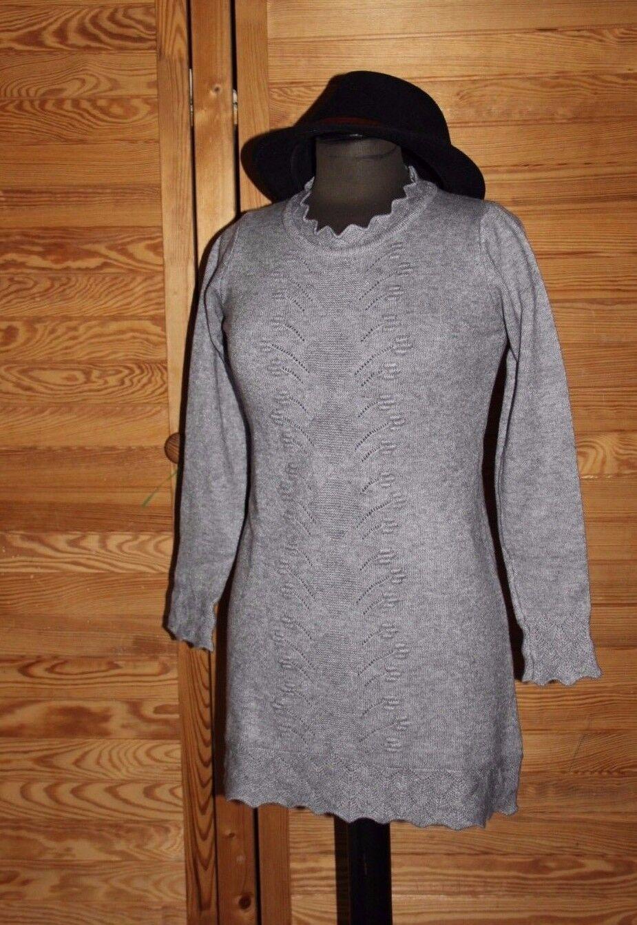 Strickkleid Winterkleid Baumwolle-Kaschmir Grau 78 cm Knielang Langarm 38   40