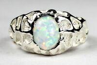 • R168, Created White Opal, 10k White Gold Men's Ring -handmade