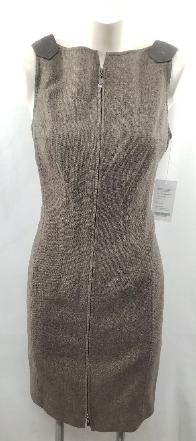 NWT Worth Birchwood Brown Front Zip  Wool Blend Dress 8