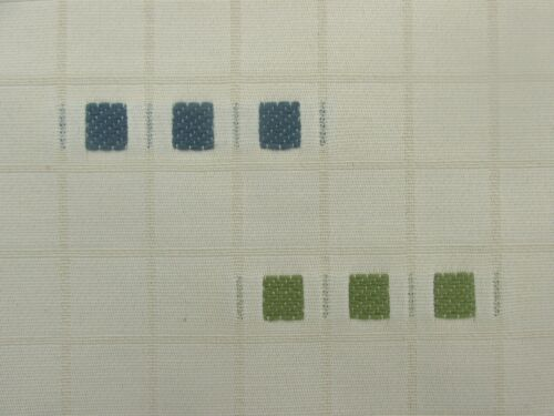 Modern Weave Cream Blue Green Squares Curtain Upholstery Fabric Material SALE!