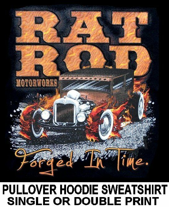 OLD SCHOOL HOT STREET RAT ROD SEDAN MOTORWORKS FLAME SKULL HOODIE SWEATSHIRT 137