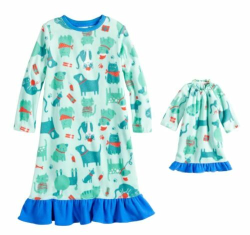 "Girl and 18/"" Doll Matching Blue Dog Cat Nightgown fit American Girl Dollie Me"
