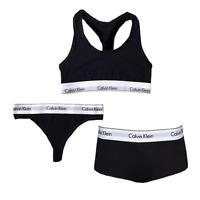 Calvin Klein Womens Sports Bra Top, Thong, Hipster 3 PIECE SET CK Underwear Pack