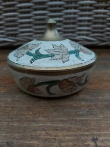 Vintage-Floral-Brass-Painted-Trinket-Pot-With-Lid