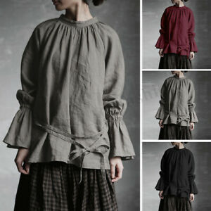 Women-Bell-Sleeve-Casual-Shirt-Tops-Blouse-Stand-Collar-Loose-Oversize-Blouse