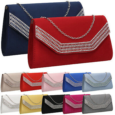 Womens Charlie Faux Suede Envelope Ladies Evening Party Prom Smart Clutch Bag