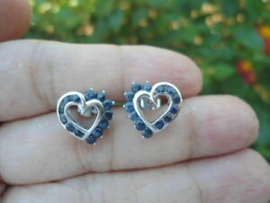 Natural-Blue-SAPPHIRE-Stones-Sterling-925-Silver-Stud-EARRINGS-Heart-Design