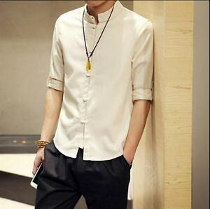 Chinese Men s Tunic Suit Jacket Casual Summer Kung Fu 3 4 Sleeve ... 6865285ec