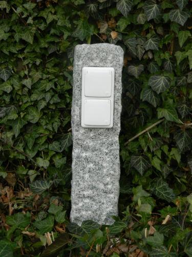 Außensteckdosen Naturstein Doppelte Gartensteckdose in Granitpalisade