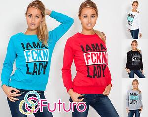 Women's FCKN Sweatshirt Blouse Print Jumper Crew Neck Sportswear Size 8-12 8305