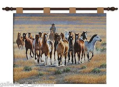 """ROUND UP  Wall Tapestry  26"""" x 34""""  W/ Rod Horse Western Cowboy Mustang Horses"""