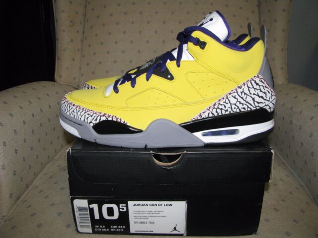 60bf0a66e55c8c ... closeout nike air jordan son of mars low true yellow purple cement grey  grape ice sz