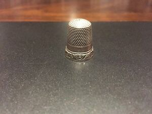 "ANTIQUE RARE ORNATE STERLING ""SCROLL UP & LOOPS DOWN,"" THIMBLE- SIZE 8"