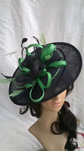 Image is loading BLACK-amp-GREEN-FEATHER-FASCINATOR-HAT-Shaped-saucer- b2fea90a9c2f